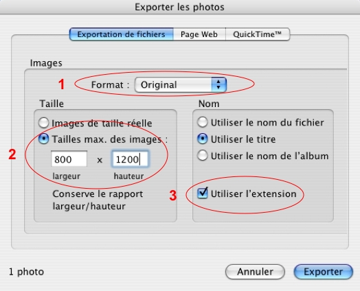 Exportation par iPhoto